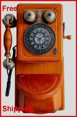 Kitchen Wall Phone Vintage Wooden Telephone Retro Classic Wood Antique Gift Old