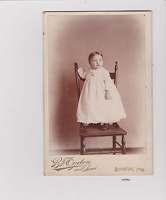 photograph antique cabinet darling baby in dress standing on chair Springfield