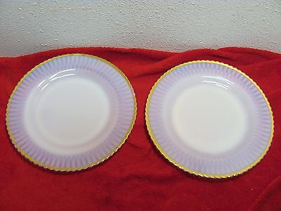 2pc Petalware Ivrene VTG MacBeth Evans Dinner Plates 1930-40 Gold Rim 22K