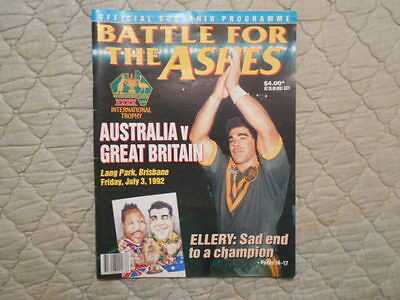 Australia V Great Britain Rugby League 2Nd Test Match Programme 1992