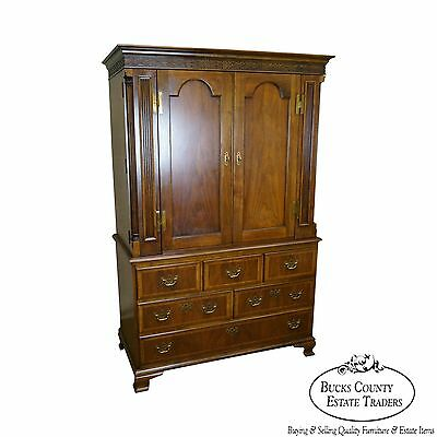 Baker Furniture Large Mahogany Chippendale Style Walnut Armoire