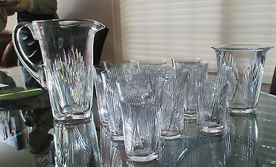 RARE Vintage Lalique France 12 pc Cut Crystal Bar Set Pitcher Ice Bucket Glasses