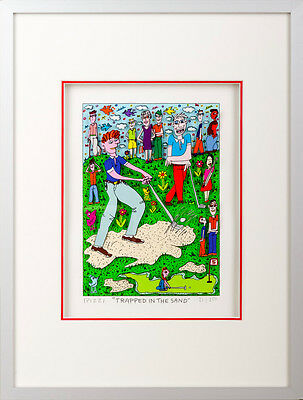 "James Rizzi original 3D Bild "" TRAPPED IN THE SAND ""NEU Zertifikat Golf- Motiv"