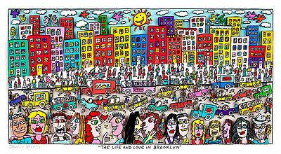 "Original James Rizzi 3D Bild ""THE LIFE AND LOVE IN BROOKLYN"" NEU mit Zertifikat"