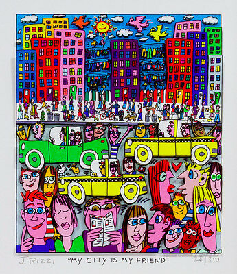 "Original James Rizzi 3 D Bild ""MY CITY IS MY FRIEND"" NEU original Zertifikat"
