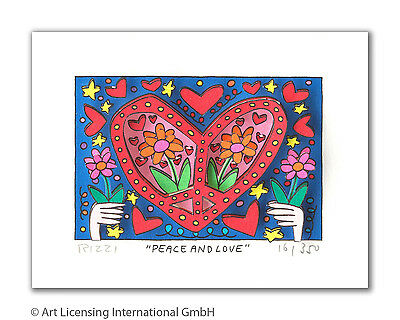 "Original James Rizzi 3 D Bild "" Peace and love"" NEU  Zertifikat vergriffen!"