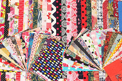 100g Bundle Pack Cotton Fabric Flower Retro Mixed JobLot Offcut Remnant Scrap R3