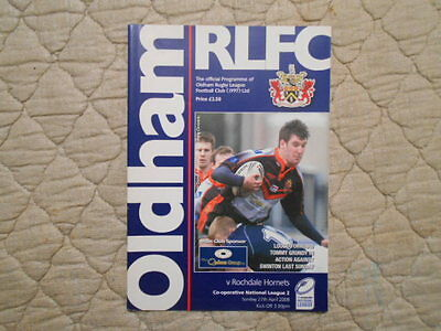 Oldham V Rochdale Hornets National League 2 Match Programme 2008
