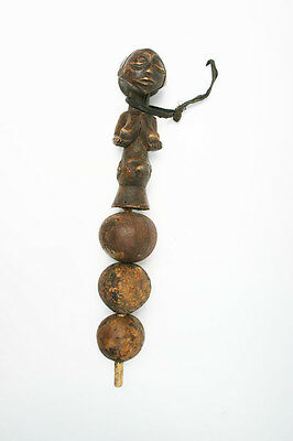 Antique Primitive wooden carved Luba (Congo) tribal  fertility doll rattle