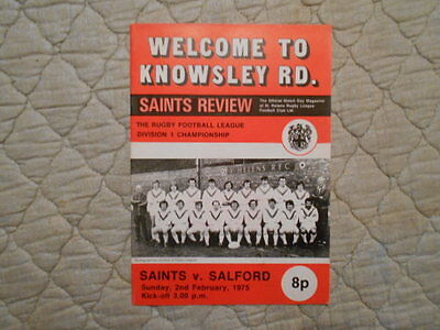 St Helens V Salford Rugby League Match Programme 1975