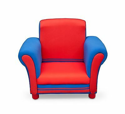 Children Upholstered Chair (Blue/Red) Solid Wooden and Padded Furniture