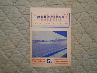Wakefield V Salford Rugby League Match Programme 1972