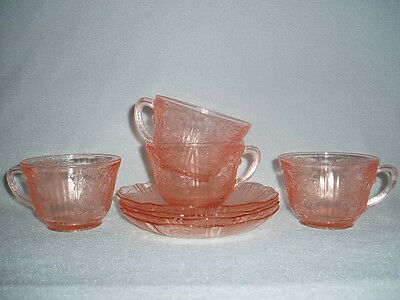 4 Pink American Sweetheart Cups & Saucers MacBeth Depression Glass Free Ship