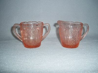 Pink Jeannette Cherry Blossom Depression Glass Child's Creamer & Sugar Free Ship