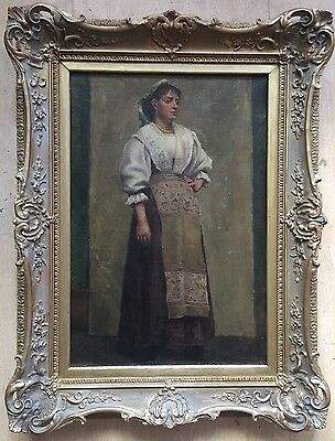19th century oil painting on canvas unsigned gilt frame
