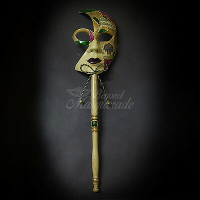 Handheld Stick Venetian New Orleans Masquerade Mask for Women M6141A