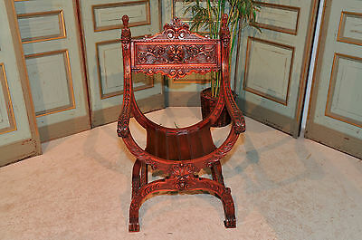 Antique French Renaissance Highly Carved Arm Chair,  Walnut with Mythical Demons