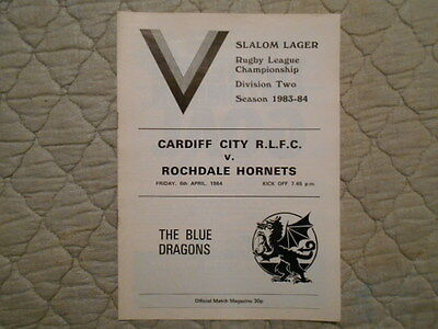 Cardiff City V Rochdale Hornets Rugby League Division Two Match Programme 1984