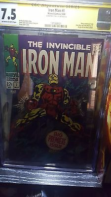Invincible Iron Man #1 CGC 7.5 Stan Lee Signed Marvel Silver Age 1968 CBCS PGX