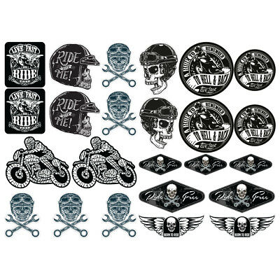Biker XLarge Laminated Sticker set Motorbike Motorcycle Cafe Racer Bobber Rocker