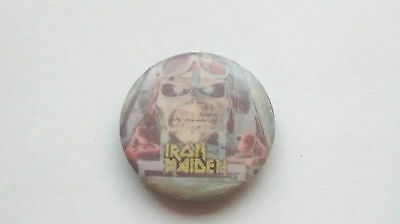 Vintage Iron Maiden Aces High Metal Button Badge 80's