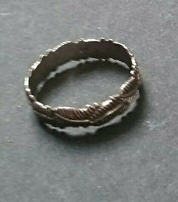 Sterling silver 925 Feather Band Ring NATIVE AMERICAN STYLE