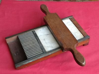 Antique Brass Mounted Wood & Marble Apothecary / Chemist Roller Pill Slide