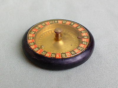 ANTIQUE MINIATURE POCKET TRAVEL ROULETTE WHEEL SPINNER SET IN BOX.  c1920s TOY ?