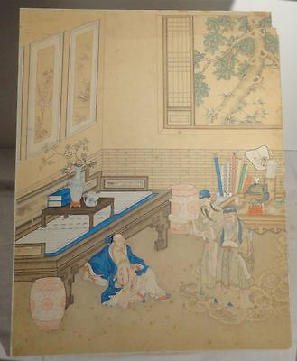 Antique Chinese Fine Watercolor Painting Immortals Scholar Paper Scroll