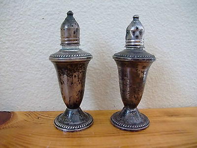 Antique Vintage Salt & Pepper Shakers Crown Sterling Silver Weighted