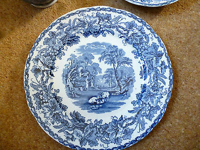 Booths British Scenery salad plate silicon china blue & white made in England