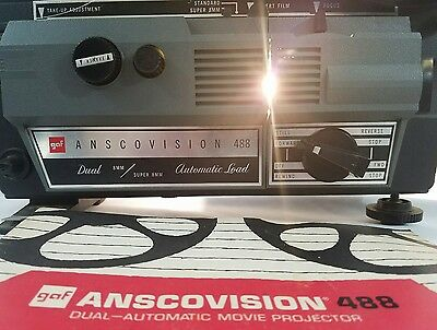 Gaf Vintage Anscovision 488 Dual Automatic 8mm/Super 8 Film Movie Projector
