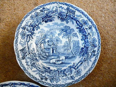 Booths British Scenery china bowl blue & white silicon china made in England