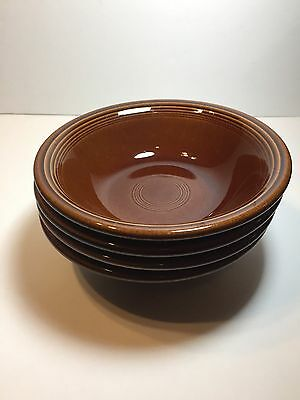 Fiesta Ware/Sheffield Ironstone Amberstone Brown Coupe Cereal Bowls Set of 4 GUC