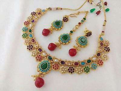 New South Indian Jewelry Necklace set Bollywood Ethnic Gold Plated Traditional