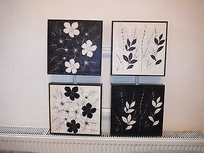 Black and white floral large canvas wall art print
