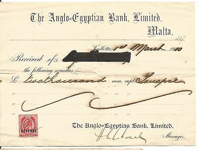 "MALTA  RECEIPT ""ANGLO EGYPTIAN BANK LMITED"" KING EDWARD 1p OVERPRINTED REVENUE"