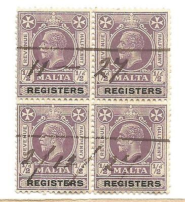 "MALTA  REVENUE STAMPS BLOCK OF ( 4 )"" REGISTERS"" VIOLET 1/2d STAMPS"