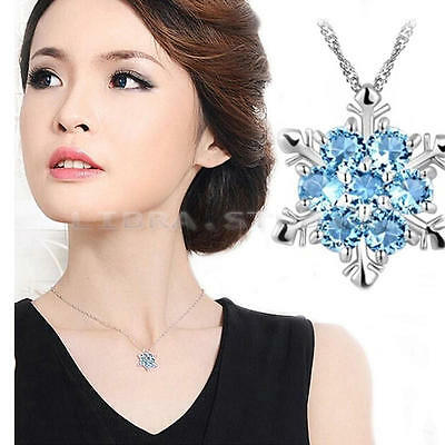 Blue Crystal Snowflake Vintage Charm lady Frozen Flower Silver Necklace Pendant