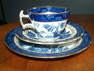 Pottery Booths Real Old Willow trio  Coffe cup & saucer & plate
