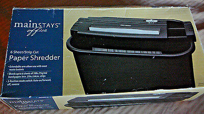 6-Sheet Strip-Cut Portable Office Paper Shredder Adjustable - Black in box