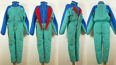 Vintage turquoise blue color Nylon Ski suit snowsuit onesie Size XL 100% Nylon