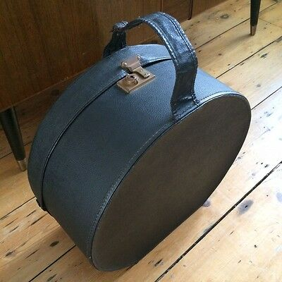 Vintage Black Hat Box 1940s 1950s Midcentury With Strap and Clasp - Exc Cond