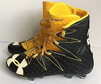 Under Armour LAX Highlight Football Cleats Size 9 Black Gold Yellow NEW