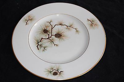 """Lenox PINE W-331 Salad Dessert Plates Pine Cone 8 1/4""""  Made in USA-Lot of 2"""
