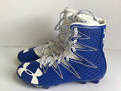 Under Armour LAX Highlight Football Cleats Size 9 White Blue NEW