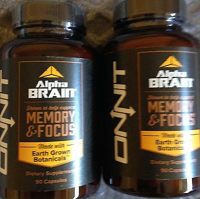 Onnit Alpha BRAIN Memory and Focus NEW! Two (2) Bottles= Total 180 Caps Sealed