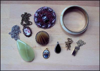 Mixed Vintage Job Lot of Costume Jewellery-Sterling Silver, Agate, 0nyx Pieces