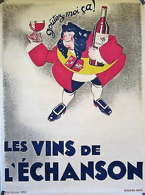 "Vintage French Wine Poster Vins de l""Echanson, Mounted on Linen"