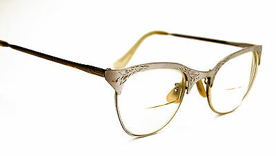 Vintage Cat Eye Glasses 1/10 12K Gold Filled 4 1/2 Silver Color